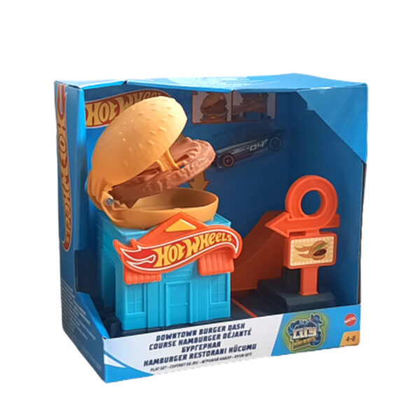 Mattel GPD09 Hot Wheels City Spielset Hamburger-Stunt Rennbahn Auto