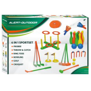 Alert Sportset Spielset Outdoor 6 in 1 Cricket Bowling Golf Hockey Ringwurf