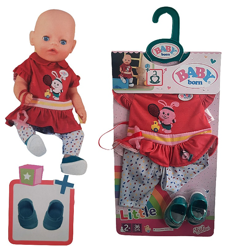 Zapf 827925 BABY born rot Puppenkleidung Little Sport Outfit 36cm