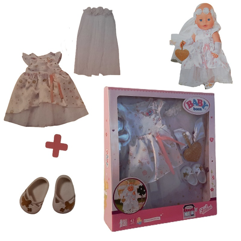 Zapf 827161 BABY born - Boutique Deluxe Braut Outfit, 43 cm